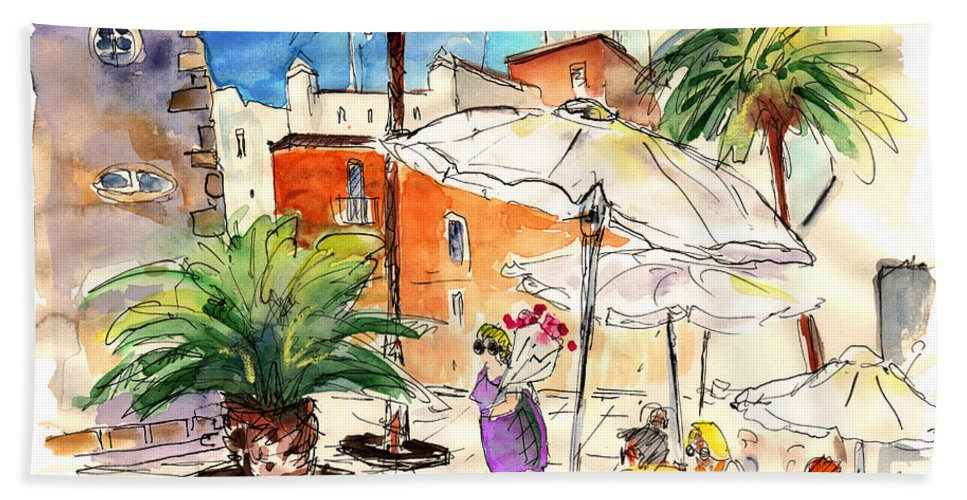 Travel Beach Towel featuring the painting Cadiz Spain 13 by Miki De Goodaboom