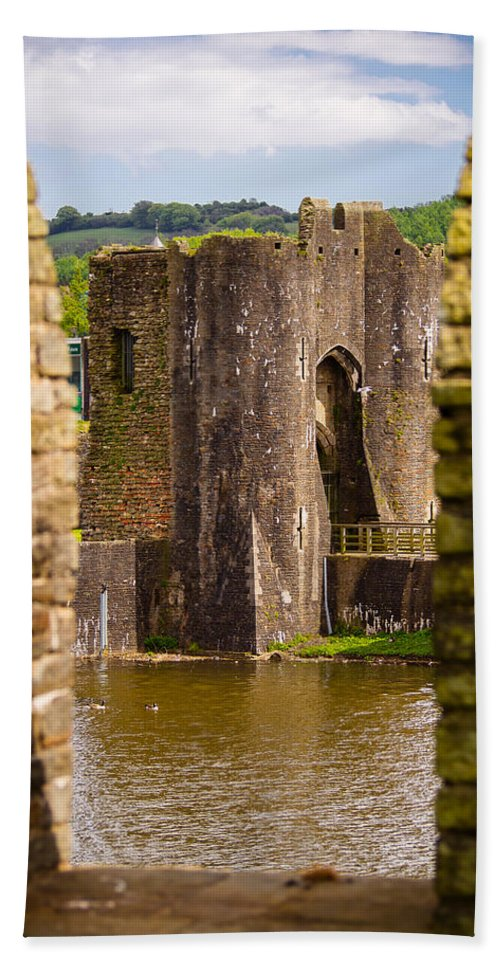 Blue Beach Towel featuring the photograph Caerphilly Castle by Mark Llewellyn