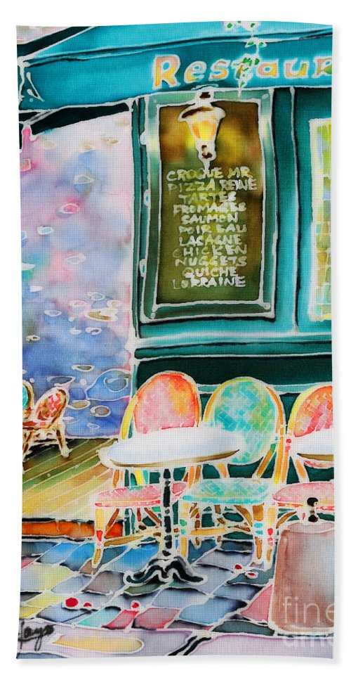 Cafe Beach Towel featuring the painting Cafe In Montmartre by Hisayo Ohta