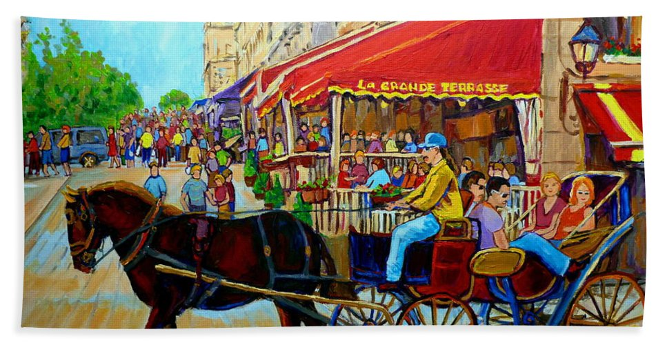 Cafe La Grande Terrasse Beach Towel featuring the painting Cafe La Grande Terrasse by Carole Spandau