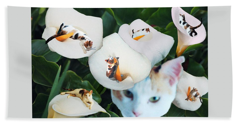 Cat Beach Towel featuring the digital art Cala In Callas by Lisa Yount