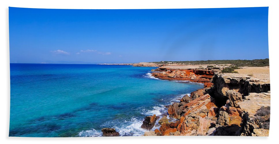 Formentera Beach Towel featuring the photograph Cala Saona On Formentera by Karol Kozlowski