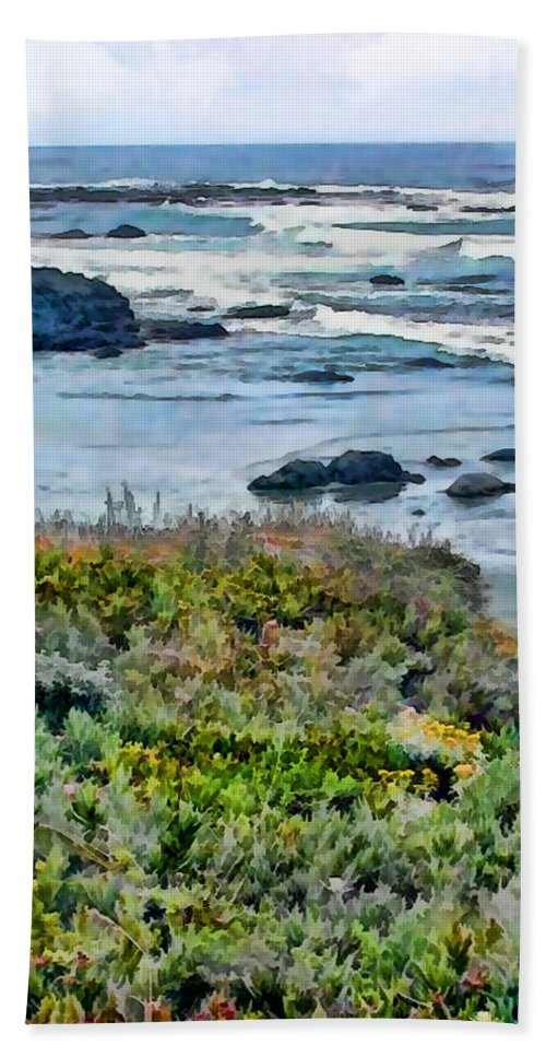 Ocean Beach Towel featuring the painting California Central Coast Near San Simeon by Elaine Plesser