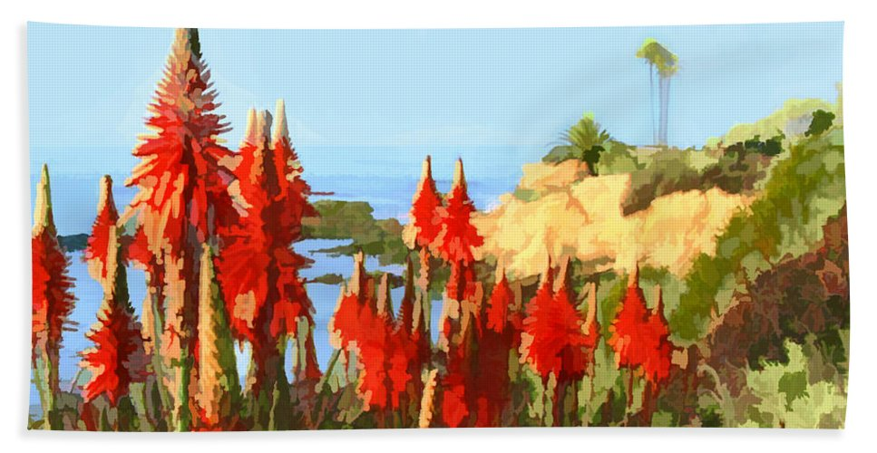 Ocean Beach Towel featuring the painting California Coastline With Red Hot Poker Plants by Elaine Plesser