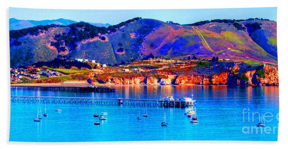 Coastal Photos Beach Towel featuring the photograph California Sunset Colors - Avila Pier by Tap On Photo