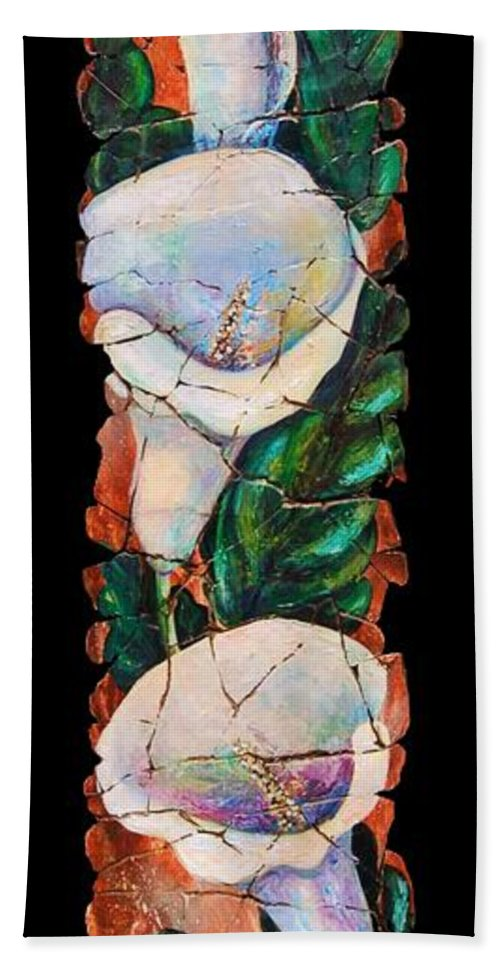Fresco Antique Painting Flower Beach Towel featuring the painting Calla Fresco by OLena Art Brand