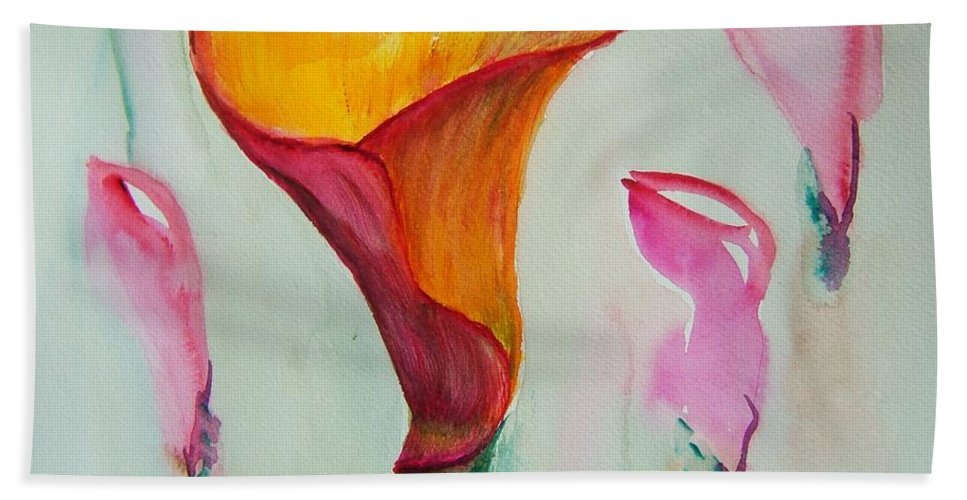 Calla Lilly Beach Towel featuring the painting Calla Lilly by Elaine Duras