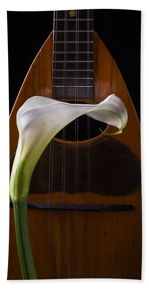 Graphic Beach Towel featuring the photograph Calla Lily And Mandolin by Garry Gay