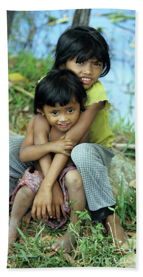 Cambodia Beach Towel featuring the photograph Cambodian Children 02 by Rick Piper Photography