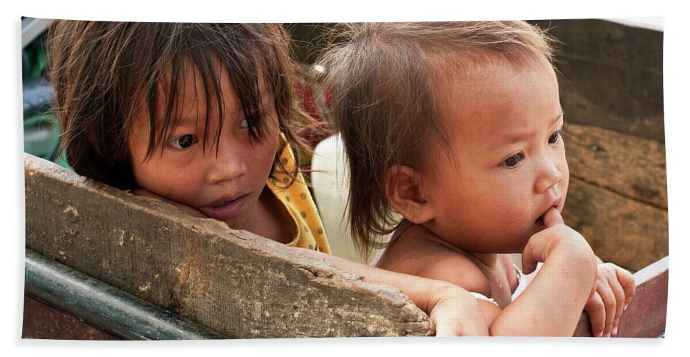 Cambodia Beach Towel featuring the photograph Cambodian Children 03 by Rick Piper Photography