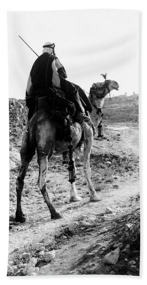 Camel Beach Towel featuring the photograph Camel Rider by Munir Alawi