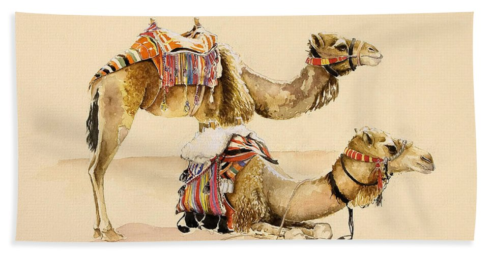 Camel Beach Towel featuring the painting Camels From Petra by Alison Cooper