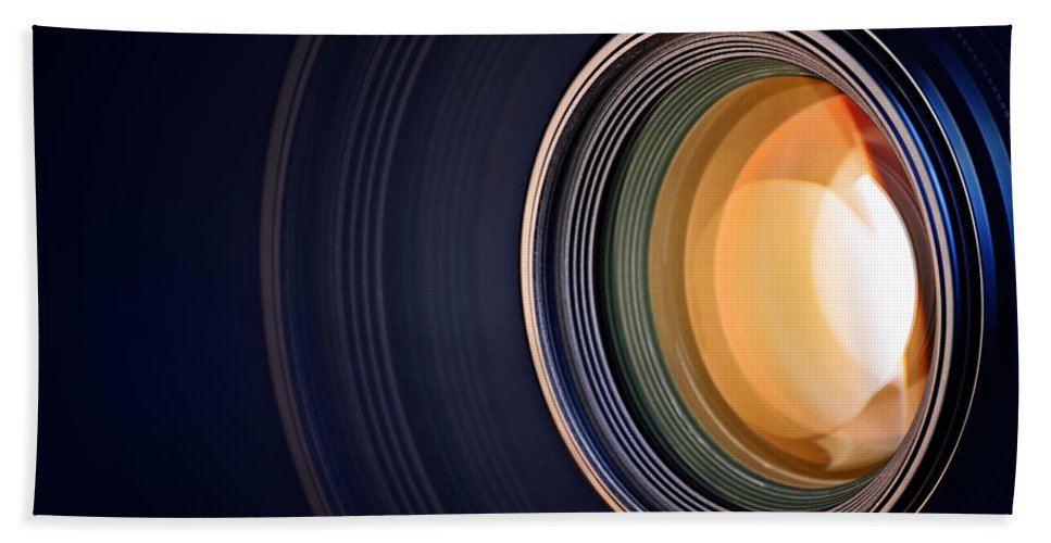 Lens Beach Towel featuring the photograph Camera Lens Background by Johan Swanepoel