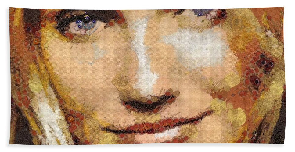 Cameron Diaz Beach Towel featuring the painting Cameron Diaz by Catherine Lott