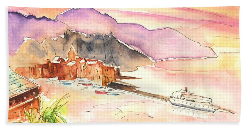 Italy Beach Towel featuring the painting Camogli In Italy 06 by Miki De Goodaboom