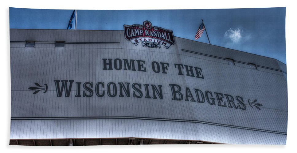 Camp Randall Beach Towel featuring the photograph Camp Randall Stadium by Tommy Anderson