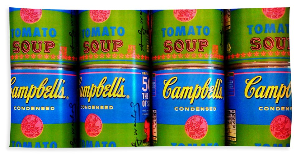 Campbell's Soup Beach Towel featuring the photograph Campbell's Tomato Soup Retro Andy Warhol by Beth Ferris Sale