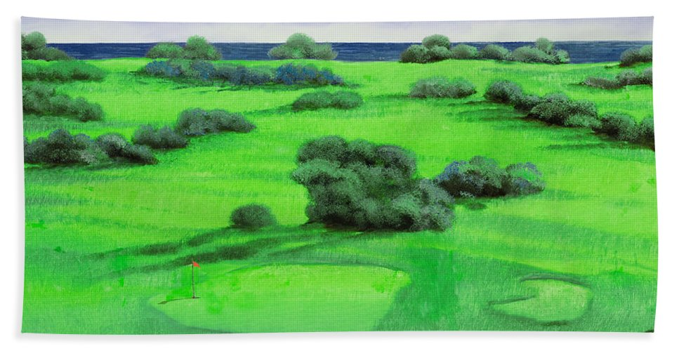 Golf Course Beach Towel featuring the painting Campo Da Golf by Guido Borelli