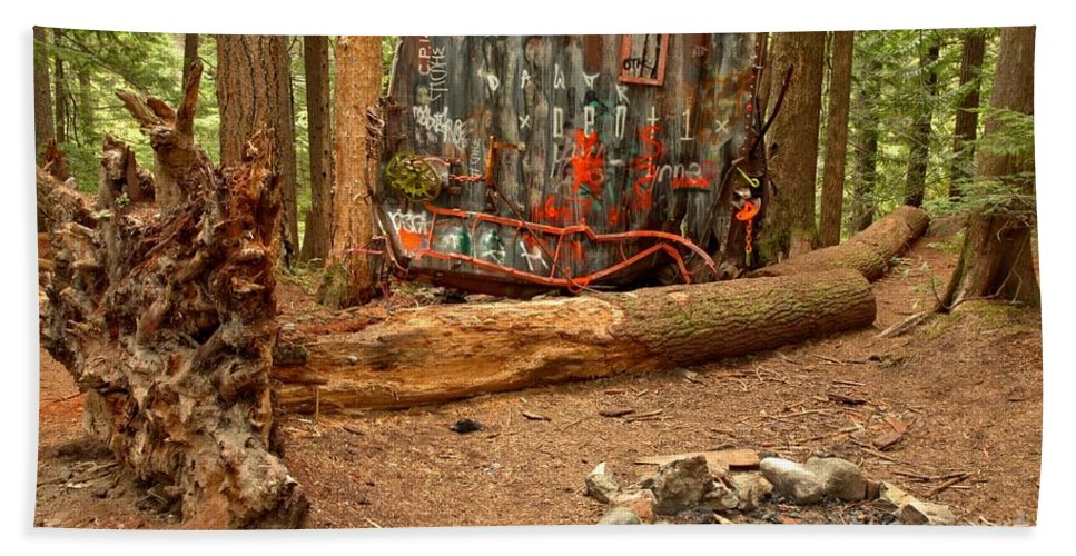 Canada Pacific Beach Towel featuring the photograph Campsite By The Box Car by Adam Jewell