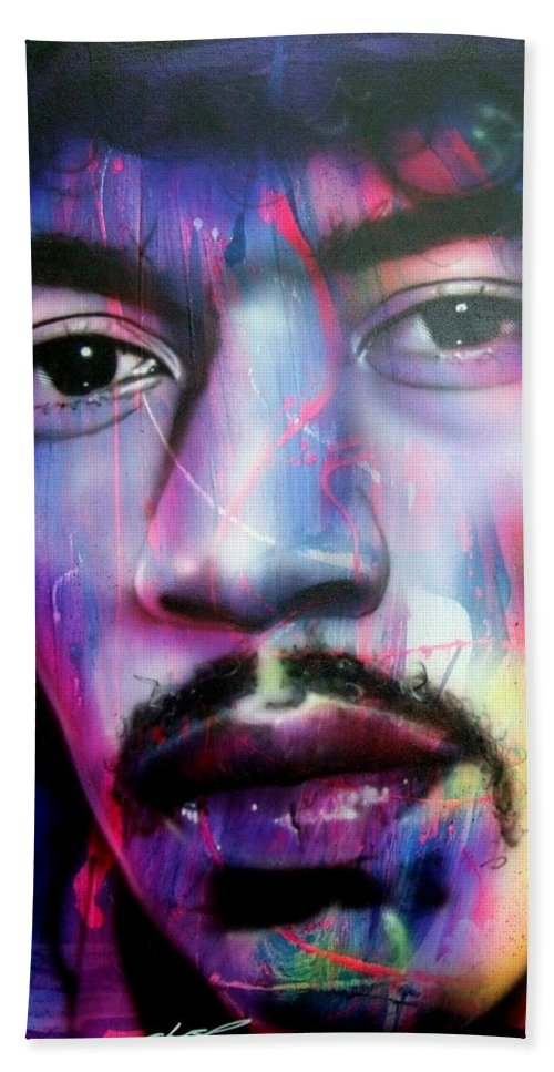 Jimi Hendrix Beach Towel featuring the painting Can You Hear Me? by Christian Chapman Art