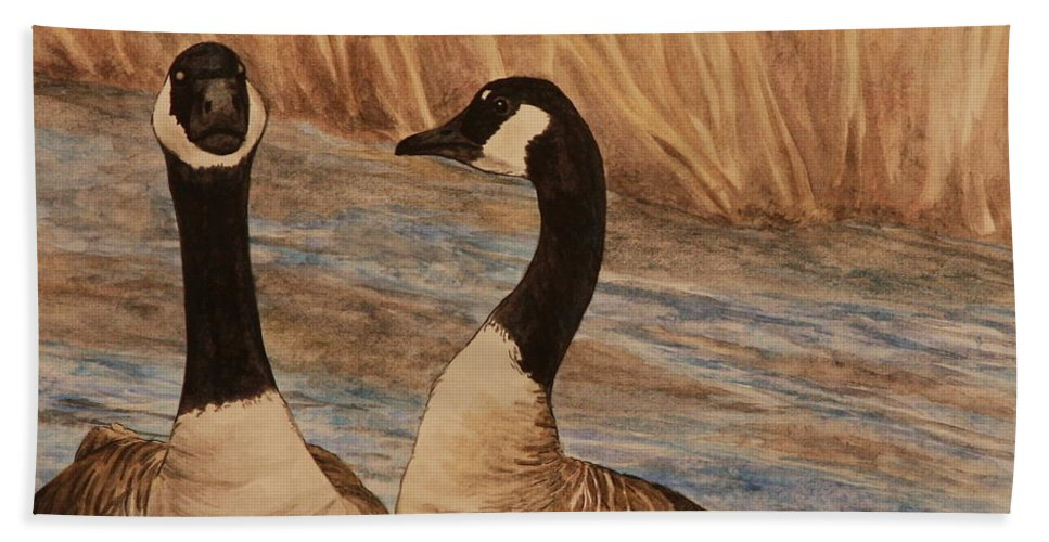 Canadian Goose Beach Sheet featuring the painting Canadian Geese by Michelle Miron-Rebbe