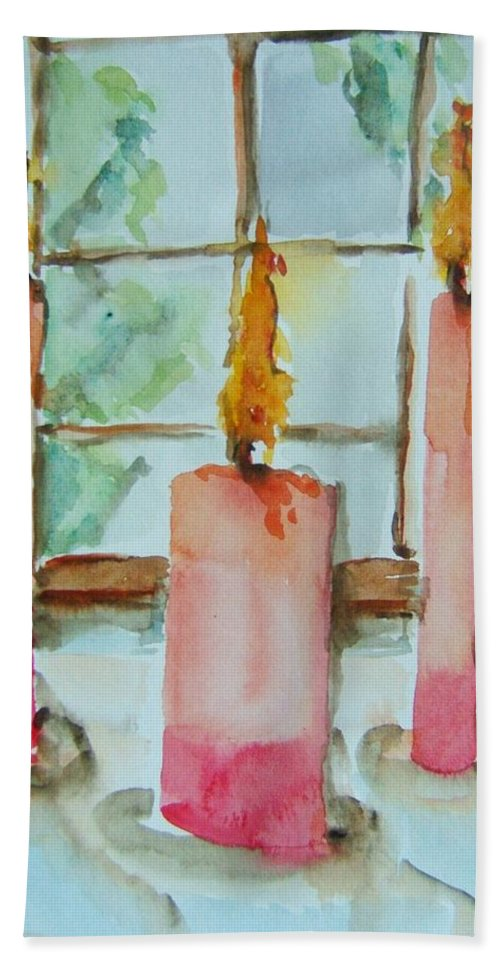 Candles Beach Towel featuring the painting Candles In The Wind-ow by Elaine Duras