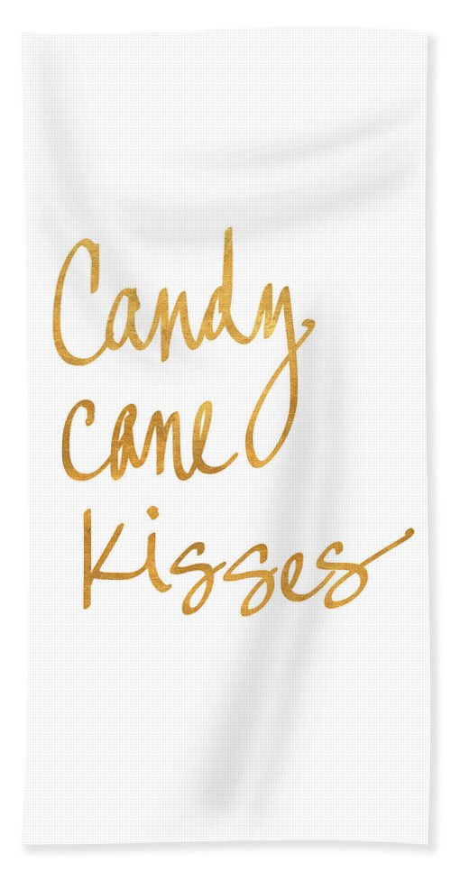 Candy Beach Towel featuring the digital art Candy Cane Kisses by South Social Studio