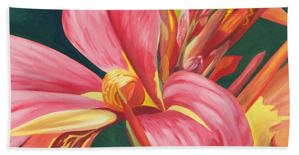 Canna Lily Beach Towel featuring the painting Canna Lily 2 by Annette M Stevenson