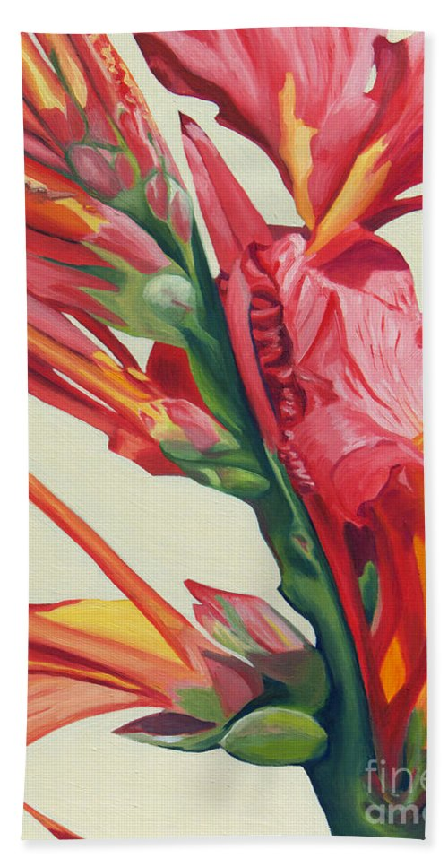Canna Lily Beach Towel featuring the painting Canna Lily by Annette M Stevenson