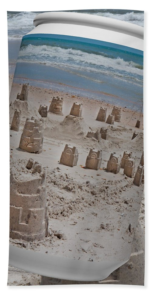 Sandcastle Beach Towel featuring the digital art Canned Castles by Betsy Knapp
