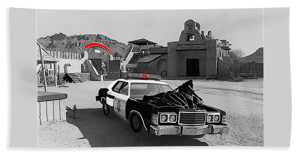 Cannonball Run 2 Brothel  Set Mexican Plaza Old Tucson Arizona Black And White Color Added Adobe Beach Towel featuring the photograph Cannonball Run 2 Brothel Set  Mexican Plaza Old Tucson Arizona 1984 by David Lee Guss