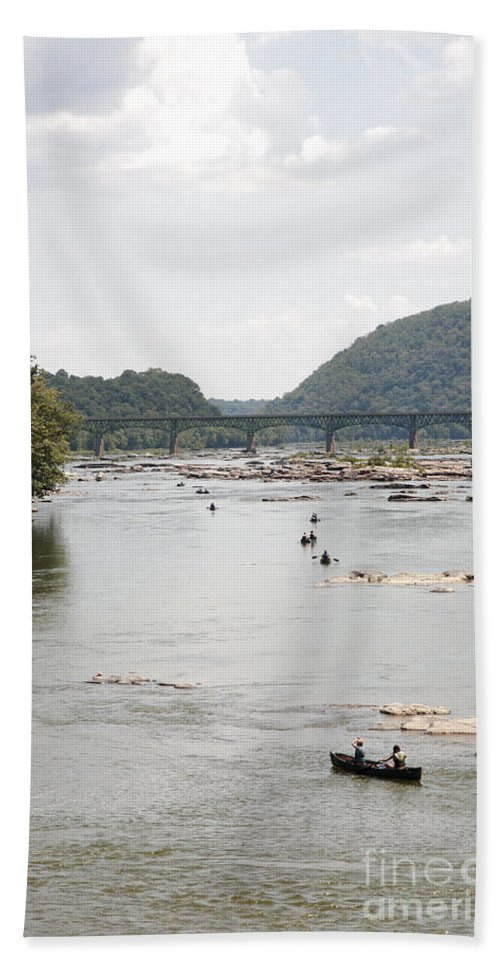 Canoe Beach Towel featuring the photograph Canoeing On The Potomac River At Harpers Ferry by William Kuta