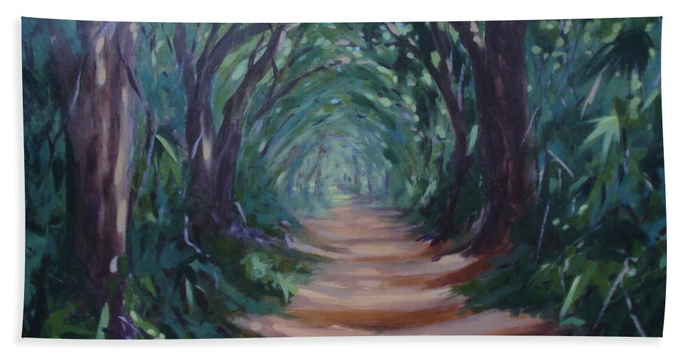 Tree Canopy Beach Towel featuring the painting Canopyroad by Rebecca Hendrix