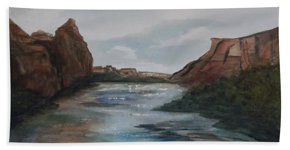 Canyon De Chelly Beach Towel featuring the painting Canyon De Chelly by Ellen Levinson