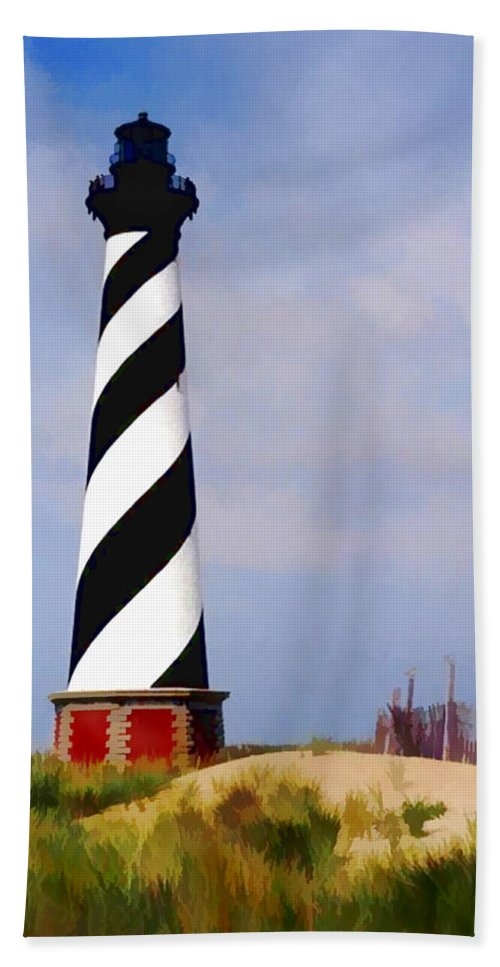 Ocean Beach Towel featuring the painting Cape Hatteras Lighthouse by Elaine Plesser