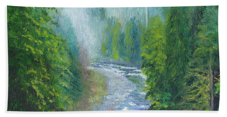 Rapids Beach Towel featuring the painting Capilano Mists by Dai Wynn
