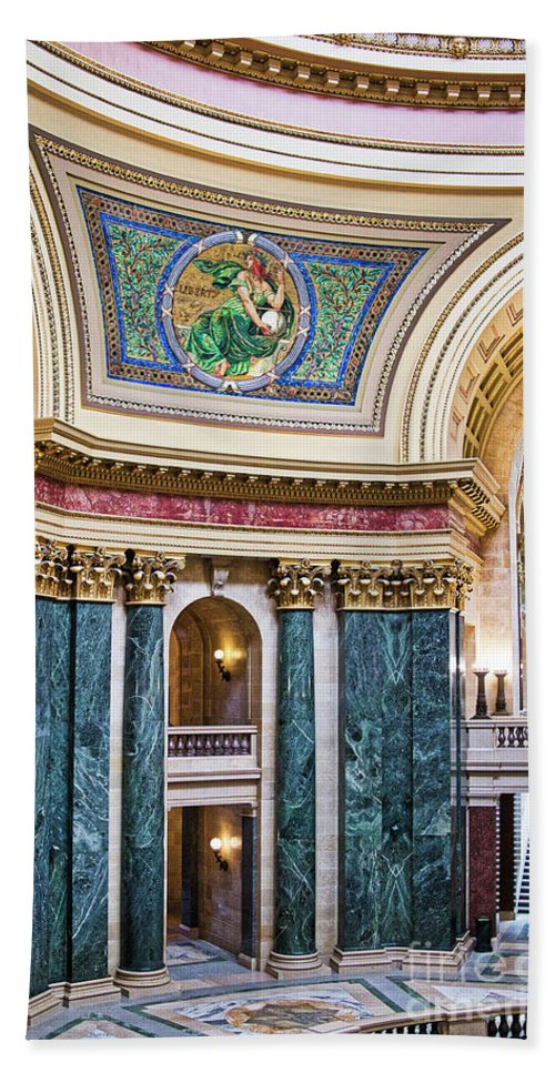 Capitol Beach Towel featuring the photograph Capitol - Madison - Wisconsin by Steven Ralser