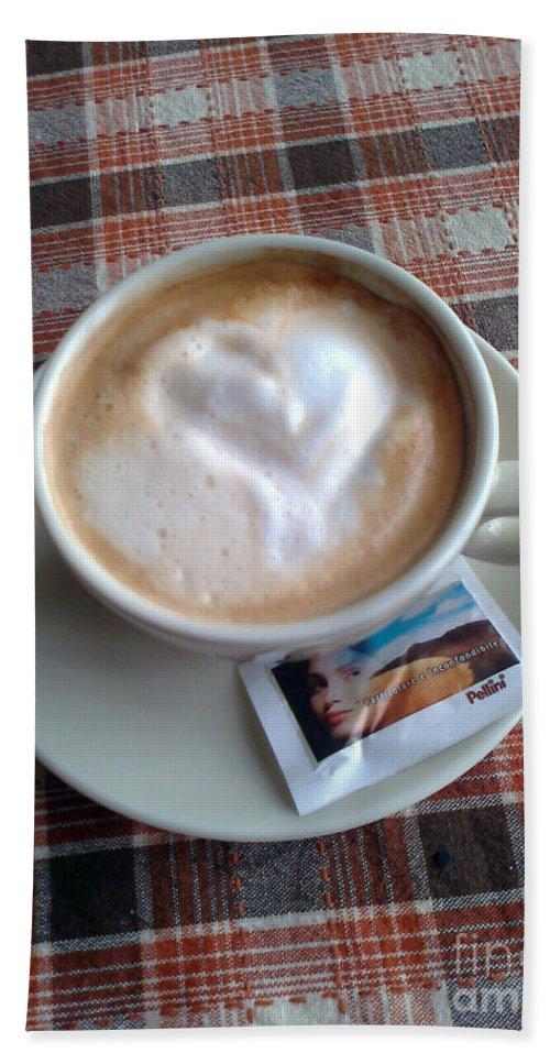 Cappuccino Beach Towel featuring the photograph Cappuccino Love by Ausra Huntington nee Paulauskaite