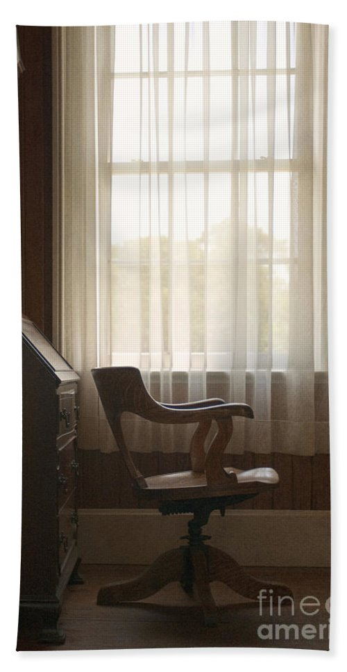 Interior; Inside; Indoors; Window; View; Drapes; Curtains; Sheer; Opaque; Living Room; Den; Office; Sitting Room; Room; Wall; Chair; Wooden; Swivel; Captains Chair; Vintage; Old; Antique; Rug; Carpet; Desk; Bureau; Secretary Beach Towel featuring the photograph Captain by Margie Hurwich