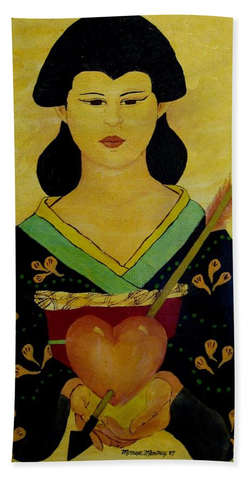 Woman Beach Towel featuring the painting Captured Heart by Monique Montney
