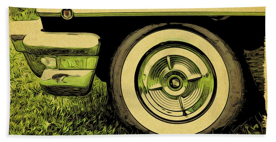 Car Beach Towel featuring the photograph Car And Tire by Alice Gipson