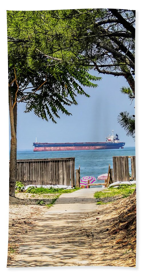 Cargo Beach Towel featuring the photograph Cargo Ship On Chesapeake Bay by Alan Hutchins
