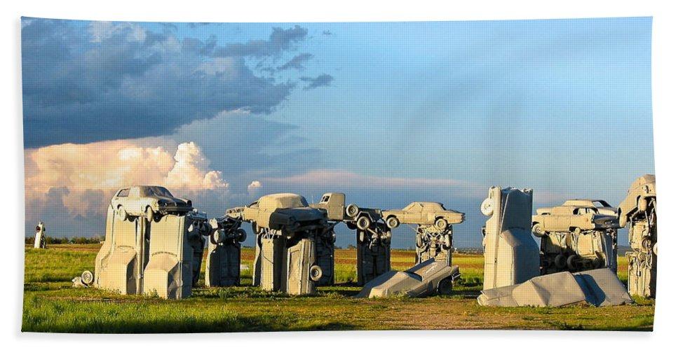 Blue Sky Beach Towel featuring the photograph Carhenge Somewhere In Nebraska by Phyllis Kaltenbach