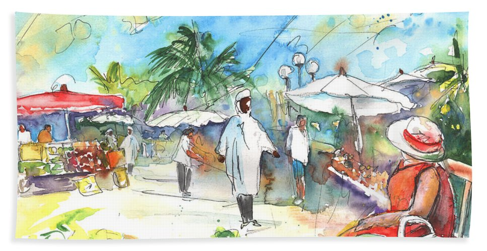 Caribbean Market Beach Towel featuring the painting Caribbean Market by Miki De Goodaboom