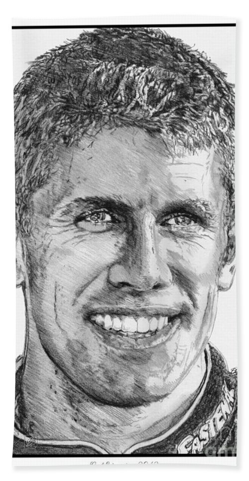 Mccombie Beach Towel featuring the drawing Carl Edwards In 2012 by J McCombie