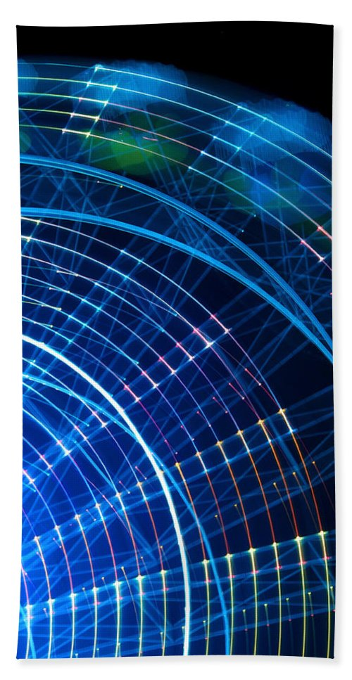 Ferris Beach Towel featuring the photograph Carnival Trails by Kaleidoscopik Photography
