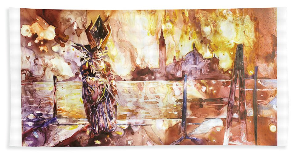 Yupo Beach Towel featuring the painting Carnivale- Italy by Ryan Fox