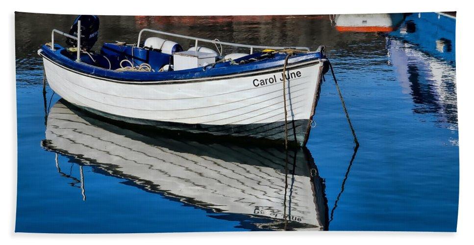 Lyme-regis Beach Towel featuring the photograph Carol June At Lyme Regis Harbour by Susie Peek