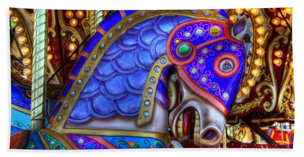 Carousel Beach Towel featuring the photograph Carousel Beauty Blue Charger by Bob Christopher