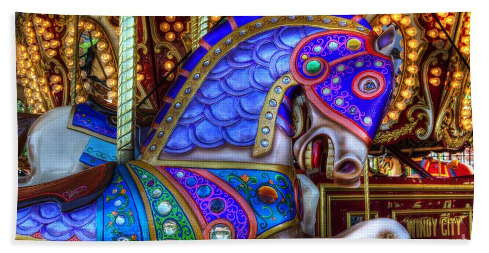 Carousel Beach Towel featuring the photograph Carousel Beauty Prancing by Bob Christopher